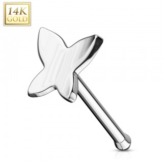Butterfly shaped solid gold nose bone piercing