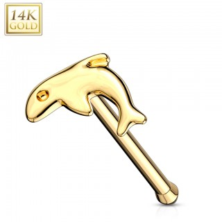 Nose bone of 14 Kt. gold with dolphin
