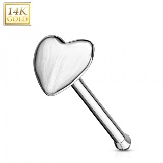 Heart shaped 14 Kt. gold nose bone piercing