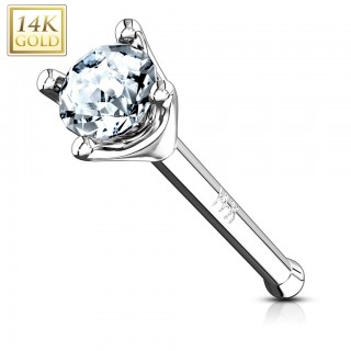 14 Kt. gold nose piercing with prong set clear crystal