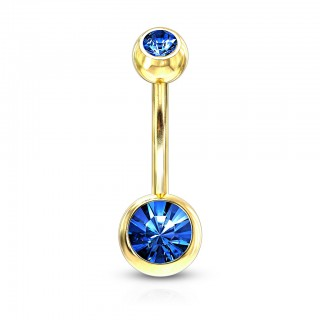 Gold belly bar with coloured crystal in 5 & 8 mm balls