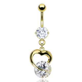 Gold Bell bar with heart and clear diamonds