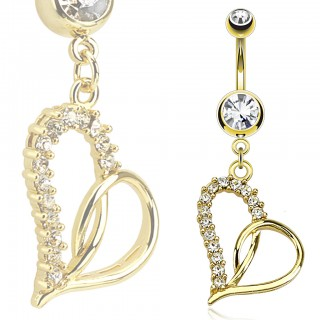 Golden belly bar with heart and clear diamonds