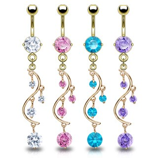 Gold plated belly bar with diamond vine dangle