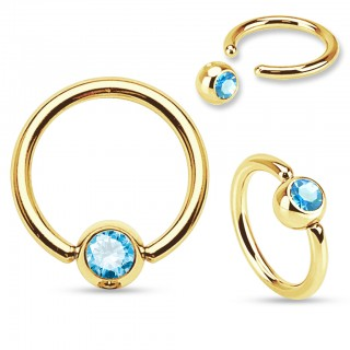 Jeweled golden captive bead ring