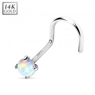 14 Kt. gold nose screw piercing with opal stone