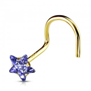 14 Kt. gold nose screw with coloured crystal star