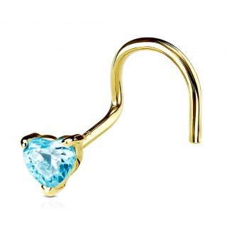 Solid gold screw nose piercing with coloured crystal heart