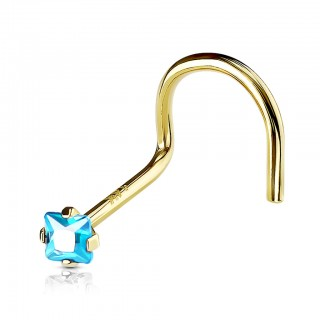 Solid gold nose piercing screw with square crystal gem