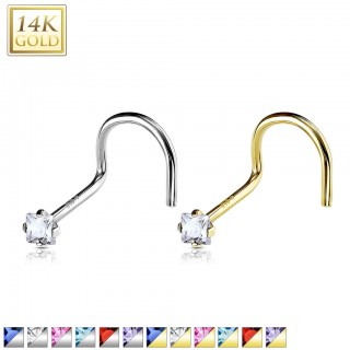 Nose screw of solid gold with square crystal