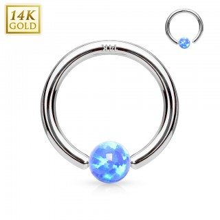 Solid white gold ball closure ring with fixed opal ball