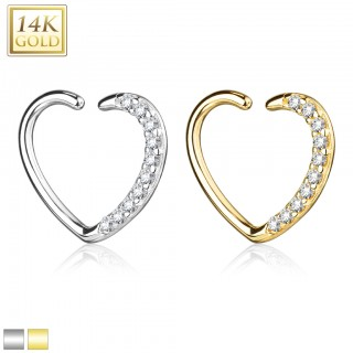 14 Kt. gold earring heart with crystals for left ear