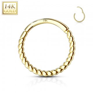 14 kt. gold braided ring with hinged segment