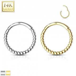 14 Kt. Gold braided hinged hoop with crystal row