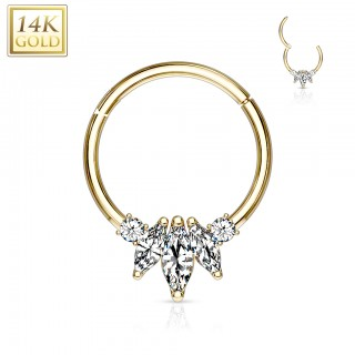 Solid gold hinged cartilage piercing with marquise gems