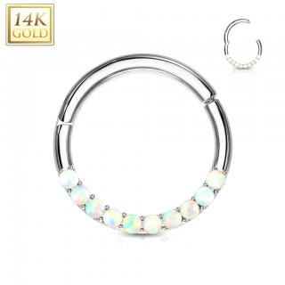 Solid gold hinged piercing ring with white opal stones