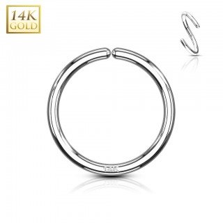 Multifunctional bendable hooped piercing of 14 Kt. white gold