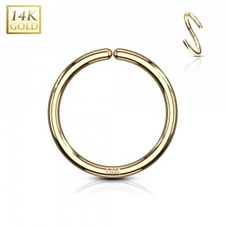 Multifunctional bendable hooped piercing of 14 Kt. yellow gold