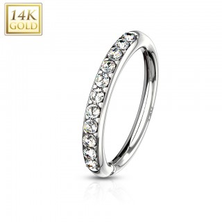 Multifunctional bendable piercing ring of solid gold with clear crystals