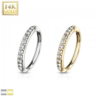 Multifunctional bendable piercing ring of 14 Kt. gold with clear crystals