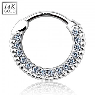 14 Kt. gold septum clicker with long round row of crystals