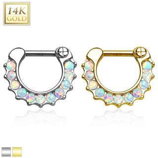 14 Kt. gold septum clicker with row of opal stones