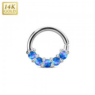 Solid white gold multifunctional piercing ring with opal stones