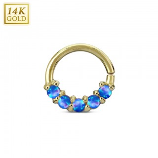 14 Kt. yellow gold multifunctional piercing ring with opal stones