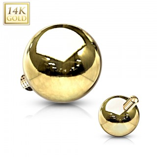 Solid gold dermal top with gold ball