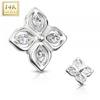 14kt. gold flower dermal top with crystals in 4 petals – White Gold