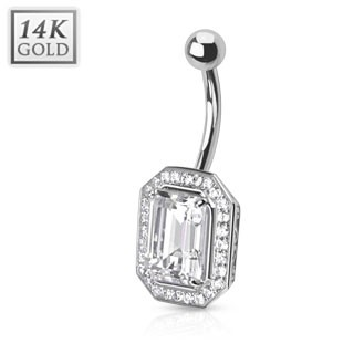 14 Kt. white gold belly bar with Princess cut gemstone