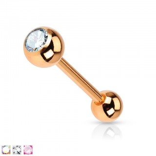 Rose gold barbell with coloured gem stone