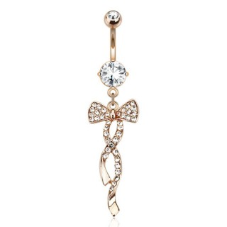 Rose gold belly bar with decorative ribbon