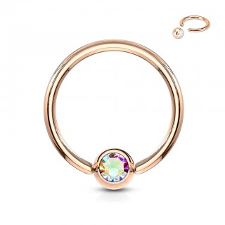 Rose gold captive bead ring with coloured gem