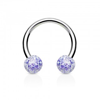 Circular barbell with UV glitter ball