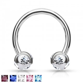 Horseshoe barbell with gem filled beads