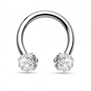 Circular barbell with gems in Ferido pattern balls - 1.6 mm - 10 mm - 4 mm - Clear