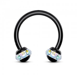 Black circular barbell with coloured crystals around balls
