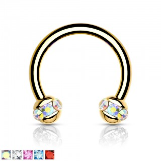 Gold plated Circular Barbell with crystal paved balls