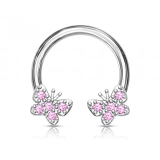 Circular barbell with coloured crystals in butterflies