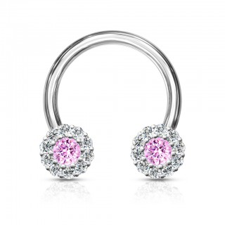 Circular barbell with coloured crystals daisy flower