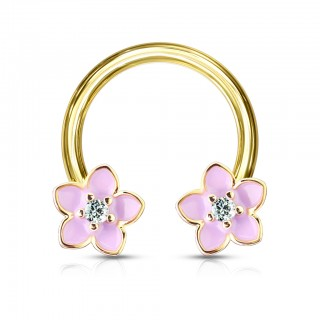 Gold horseshoe barbell with pink enamel flowers