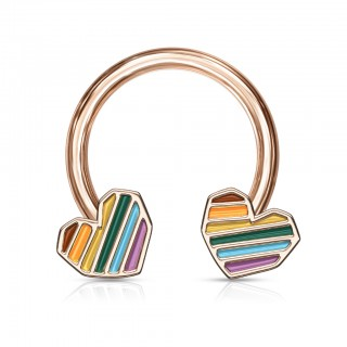 Coloured circular barbell with rainbow stripes in hearts