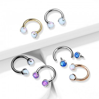 Internally Threaded Circular Barbell with claw set Opals