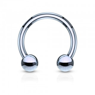 Titanium circular barbell piercings with beads