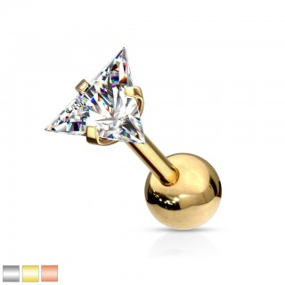Triangle crystal prong fit 316L surgical steel barbell