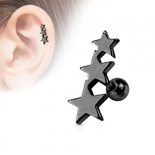 Cartilage stud with trio of coloured stars