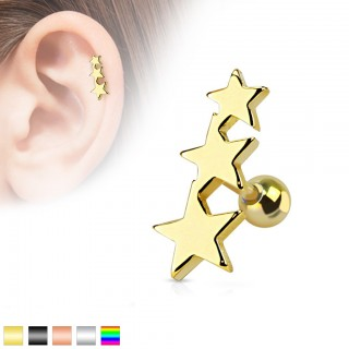 Helix piercing with three coloured stars