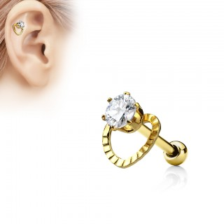 Earring with hollowed loveheart and jewel