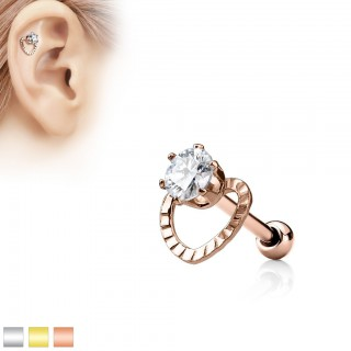Coloured ear piercing with hollow heart and crystal